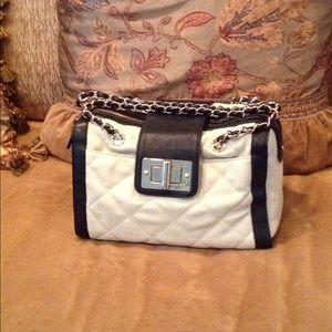 Cream and navy handbag